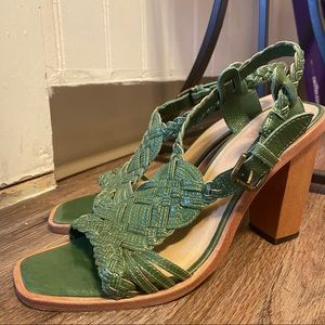 Frye Green Brazilian Braided Leather Block Heel| 8